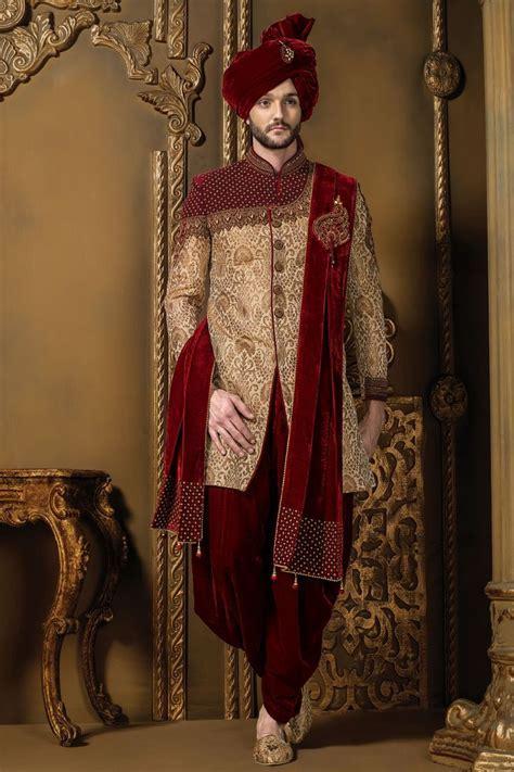 Dark #red & #gold khinkwab & #velvet resplendent #sherwani