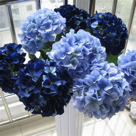 blue hydrangea flower arrangements navy blue flowers silk hydrangea navy blue wedding