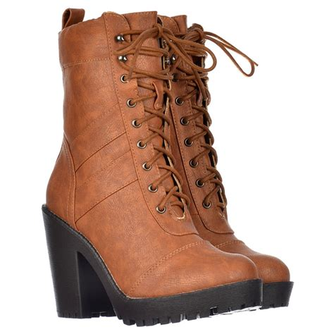 shoekandi ankle boot lace up with block heel
