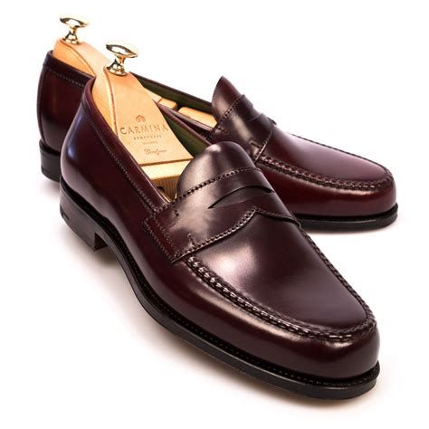 image of loafers cordovan loafers in burgundy carmina