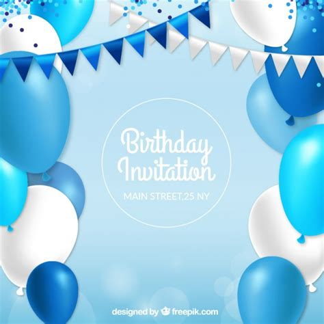 balloon card template birthday invitation with blue balloons vector free