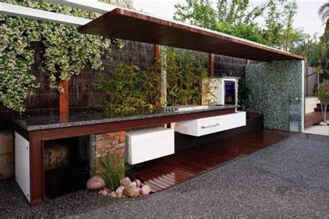 outdoor bbq kitchen ideas modern and natural concrete outdoor kitchen with bamboo