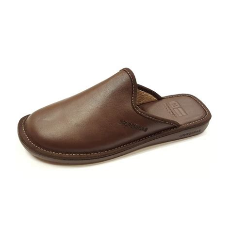 best mens house slippers top line 131 ohio brown leather mule slipper