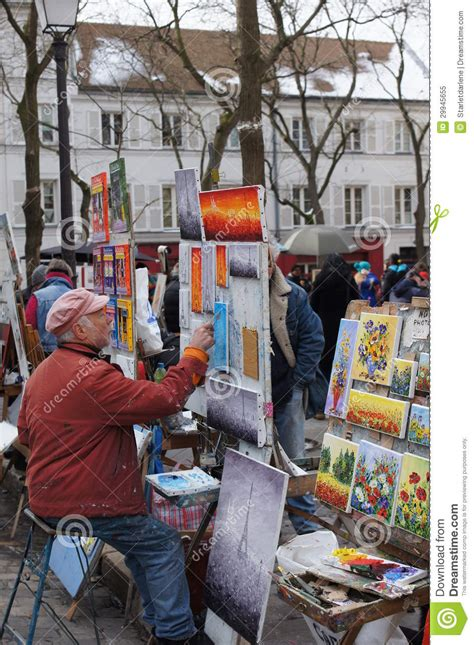 paint places artist painting in montmartre paris france editorial