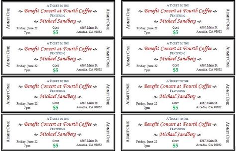 Generic Event Ticket Templates Formal Word Templates Free Sle Event Tickets Template