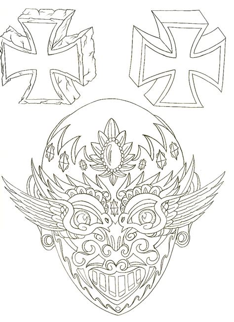 tattoo flash line art skull and cross 171 line drawing 171 other 171 tattoo pictures