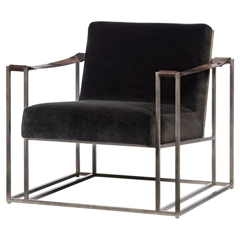leather and fabric armchair gideon industrial brown fabric leather strap armchair
