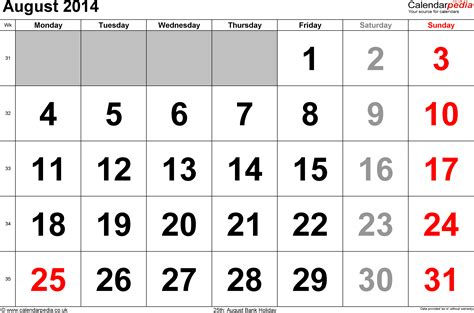 calendar august 2014 uk bank holidays excel pdf word