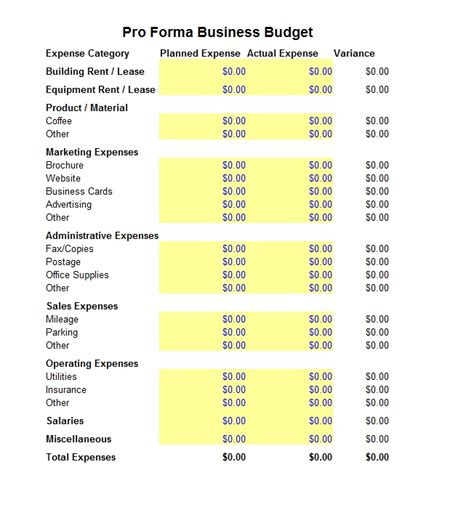 business budget pro forma template sle