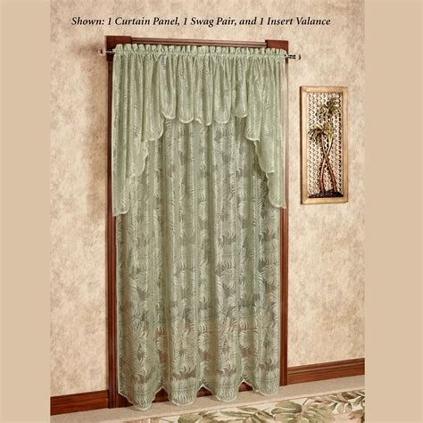 sage curtain palm leaves sage lace window treatment