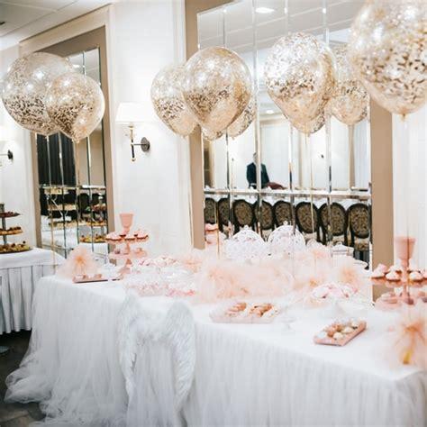 wedding reception dessert table  confetti balloon