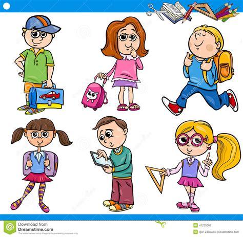 clipart scuola primaria primary school children set stock vector