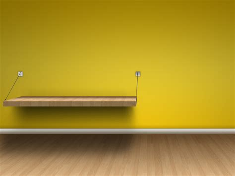 Yellow Wall Shelf by Shelf Wood Floor And Yellow Walls