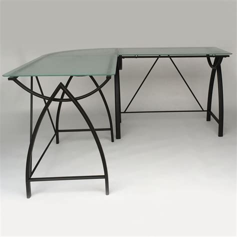 glass l shape computer desk with silver frame finish glass l shaped desk picture of chiarezza executive