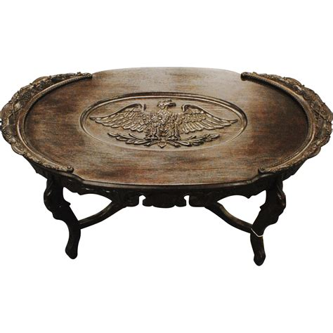 coffee table with carved eagle and civil war sold on