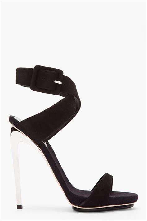 Sandal Wanita Wedges Jnr Black Silver giuseppe zanotti black suede and silver 115 heels in black lyst