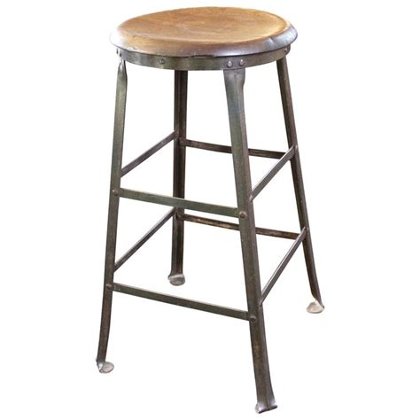 wooden kitchen bar stools rustic bar stool backless kitchen wood and metal bar stool at 1stdibs