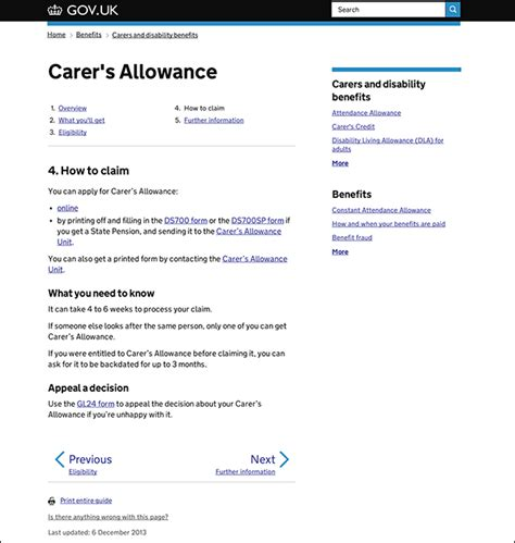 carers allowance section start pages within guides design notes