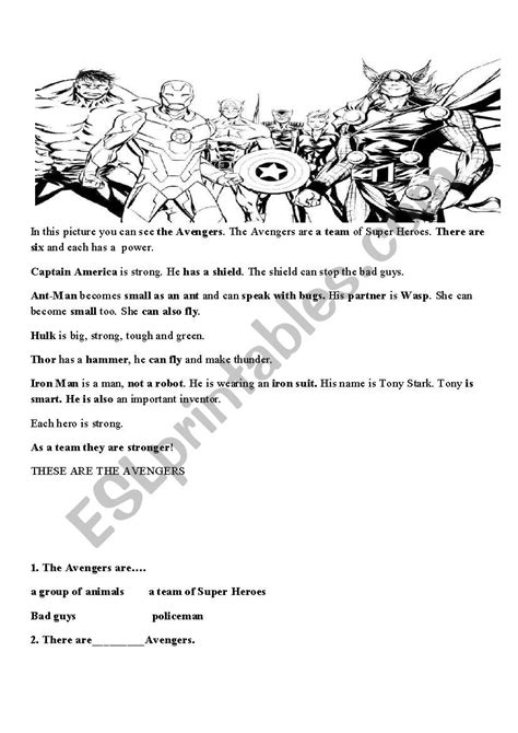 Avengers reading comprehension and puzzle. Superhero - ESL