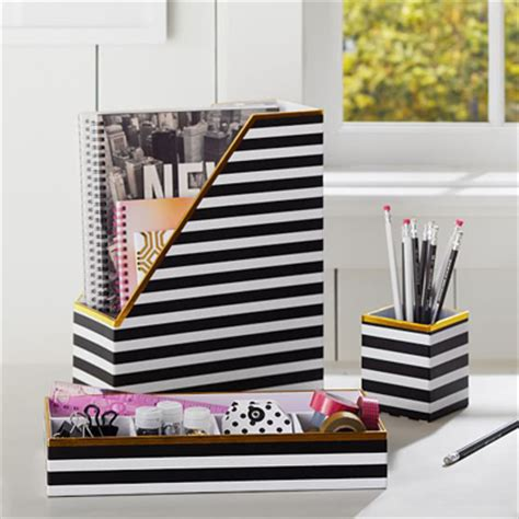 Black White Stripe Desk Accessories Decor By Color Black And White Desk Accessories