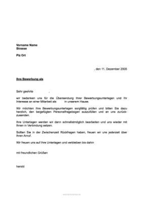 Musterbrief Bewerbung Praktikum musterbrief eingangsbest 228 tigung bewerbung unterlagen