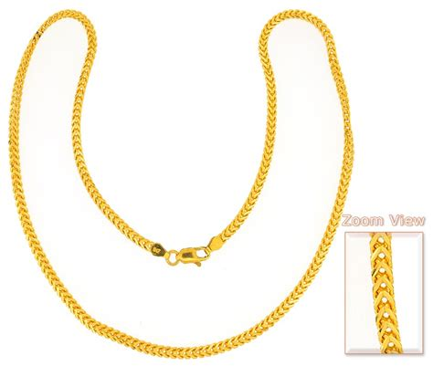 gold foxtail chain 22 inch chpl3836 22kt gold
