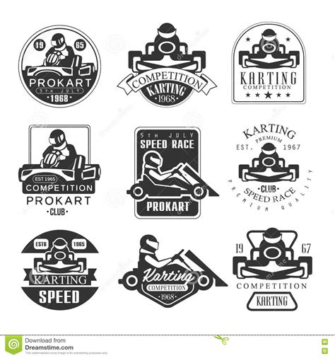 Karting Club Speed Race Black And White Logo Design Template With Rider In Kart Silhouette Car Rider Sign Template