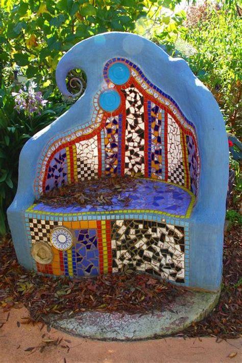 mosaic garden bench mosaic garden bench mozaiek pinterest gardens