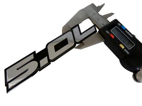 5.0L Emblem in SILVER on BLACK Highly Polished Aluminum