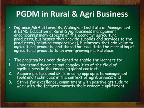 Mba Agribusiness Management by Distance Mba In Rural And Agri Business From Welingkar