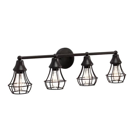 4 bulb bathroom light fixtures shop kichler bayley 4 light 9 in olde bronze cage vanity