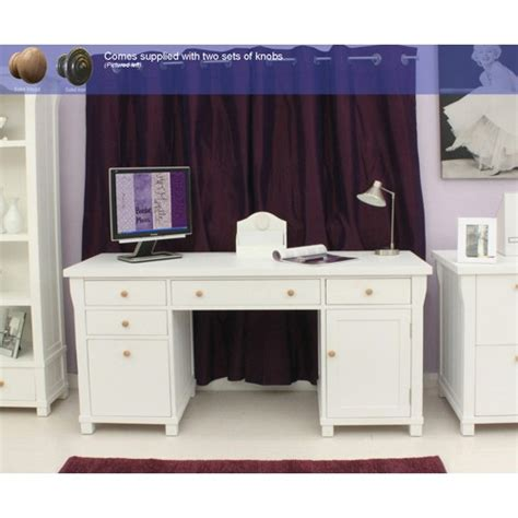 Hton White Painted Double Pedestal Computer Desk White Painted Desk
