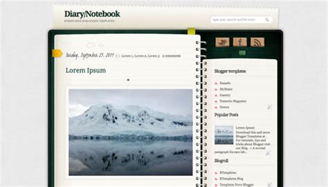notebook templates for blogger diary notebook blogger template btemplates