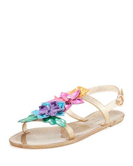 Slingbags Jelly Flower webster hula 3d floral jelly flat sandal gold