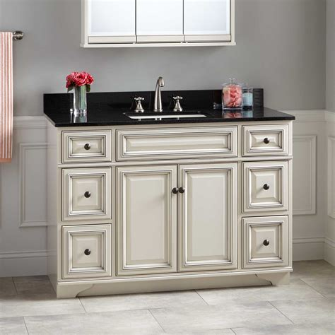 White Vanity Cabinets For Bathrooms 48 Quot Misschon Vanity For Rectangular Undermount Sink Antique White Bathroom Vanities Bathroom