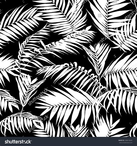 hawaiian pattern cdr black and white palm leaves pattern seamless trendy