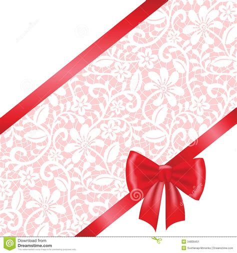 lace fabric background with ribbon bow stock image image