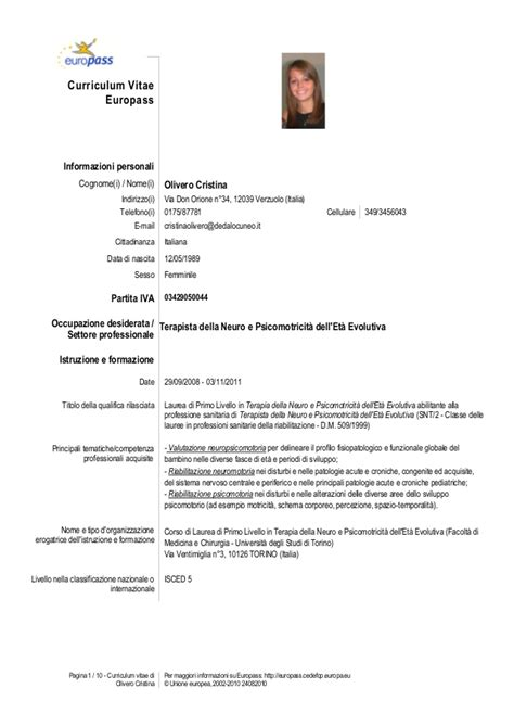 Modelo Cv Union Europea Cv Tnpee Olivero Cristina
