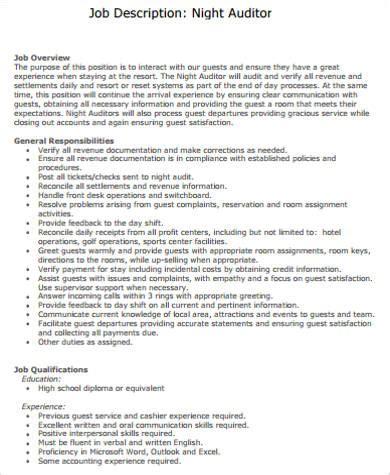 night auditor job description sle 8 exles in word