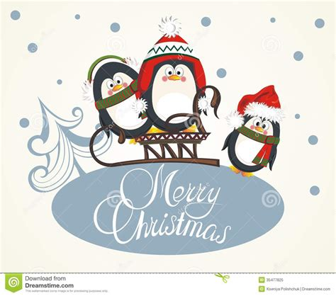 printable christmas cards penguin merry christmas card with penguins stock vector