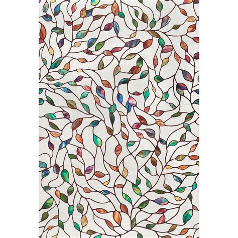 peel and stick window covering artscape 24 in x 36 in new leaf decorative window