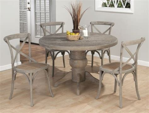 distressed dining room furniture weathered driftwood grey dining table x back chairs