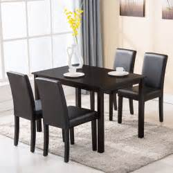 5 dining table set 4 chairs wood kitchen dinette