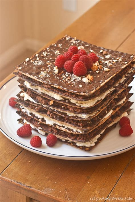 9 layer no bake matzo cake cooking on the side