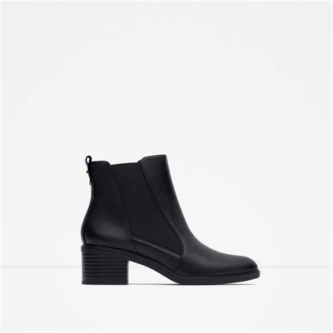 zara elasticated high heel ankle boots in black lyst