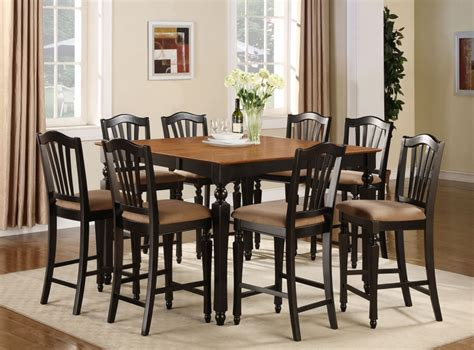 Tall Dining Room Table by 7pc Square Counter Height Dining Room Table Set 6 Stool Ebay