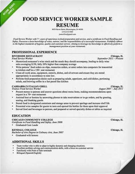 resume sles for food service manager sle food service worker resume