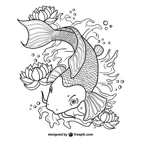 cartoon vis tattoo koi vissen lijntekeningen vector vector gratis download