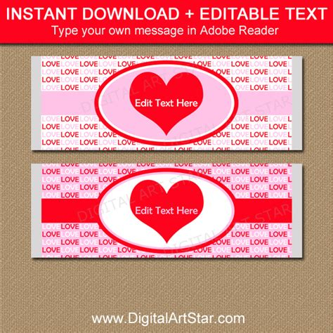 Valentines Cards For Size Bar Template favors bar wrapper template