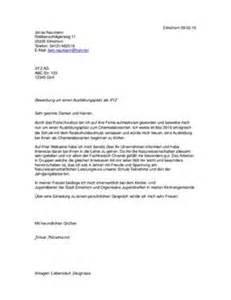 Bewerbung Zum Chemielaboranten Bewerbungsbrief Beispiel Schulhilfe De